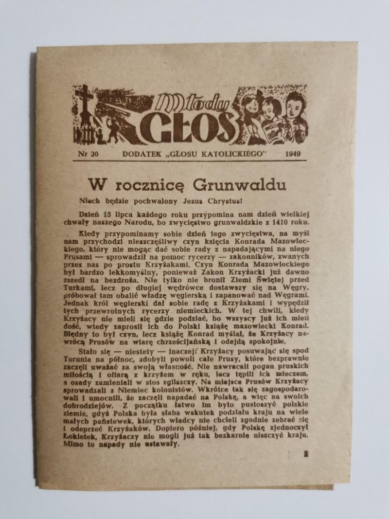 MŁODY GŁOS DODATEK DO GŁOSU KATOLICKIEGO NR 20 1949