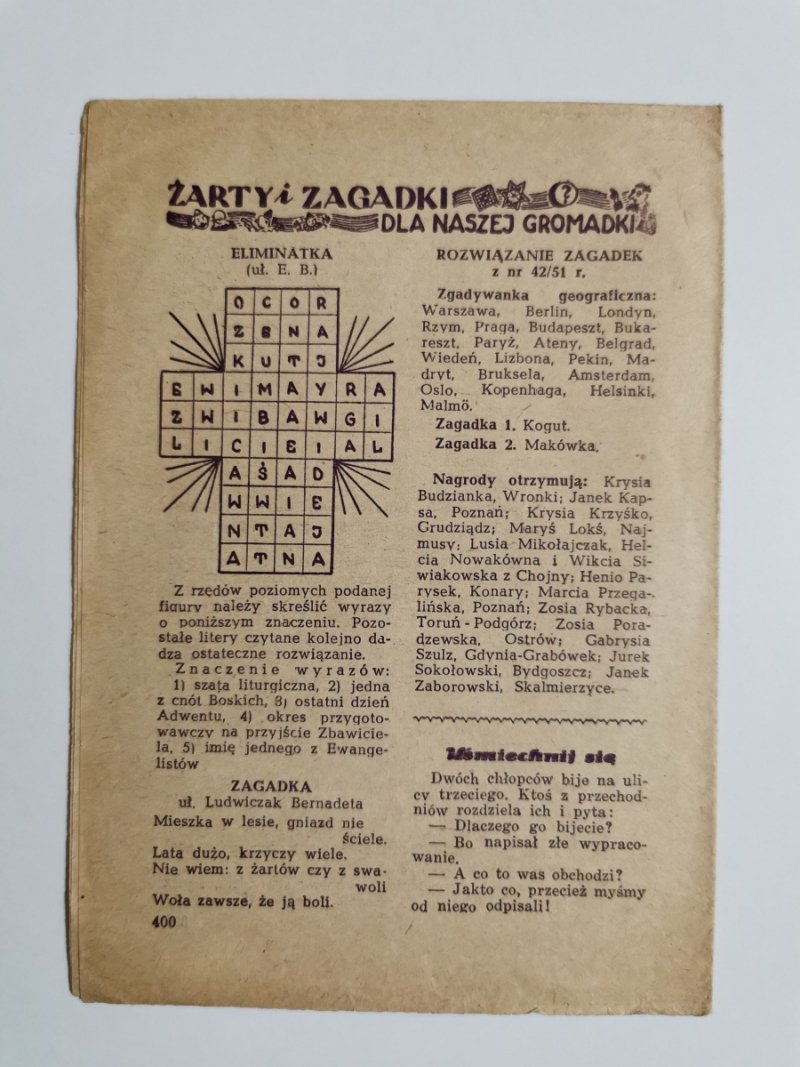 MŁODY GŁOS DODATEK DO GŁOSU KATOLICKIEGO NR 48 1951
