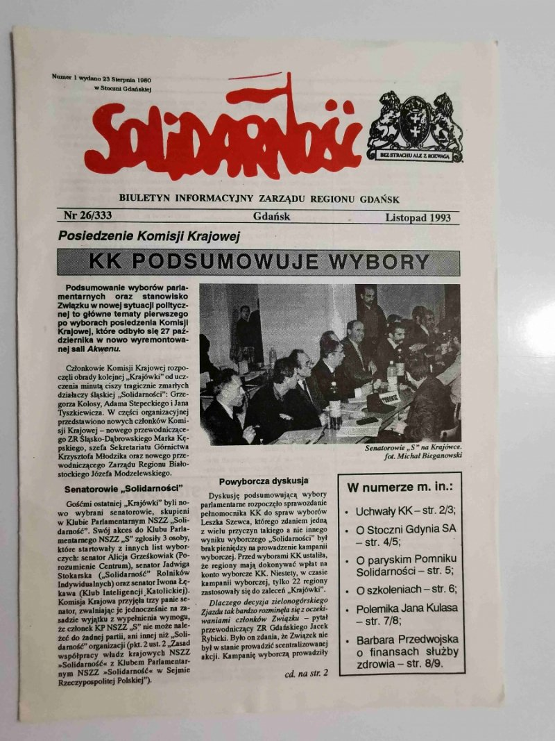 SOLIDARNOŚĆ NR 26/333 GDAŃSK LISTOPAD 1993