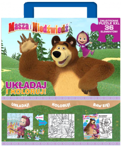 Masza i Niedźwiedź Układaj i koloruj! Kolorowanka i puzzle XXL