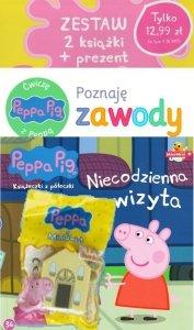 Świnka Peppa zestaw 2 książki (Niecodzienna wizyta + Ćwiczę z Peppą) + domek MiniŚwiat