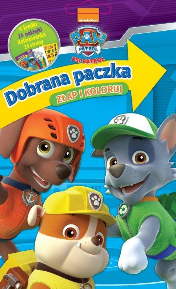 Psi Patrol Dobrana paczka 1 Złap i koloruj (24 kolorowanki + 24 naklejki + 4 kredki)