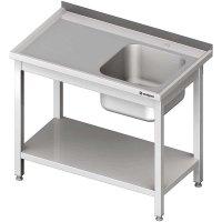 Stół ze zlewem 1-kom.(P),z półką 1000x600x850 mm skręcany STALGAST 613306 613306