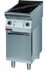 Kuchnia indukcyjna 450 mm 2x5,0 kW na podstawie szafkowej zamkniętej  KROMET 900.KE-2i/450.S.D LINIA 900