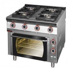Kuchnia gazowa z piekarnikiem elektrycznym z termoobiegiem 900x900x900 mm KROMET KR900.KG-4/PE-1T KR900.KG-4/PE-1T