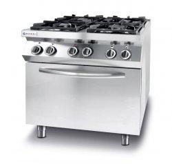 Kuchnia gazowa 4-palnikowa Kitchen Line z konwekcyjnym piekarnikiem elektrycznym GN 1/1 HENDI 225882 225882