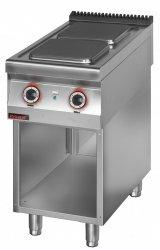 Kuchnia elektryczna 2 płytowa 450 mm 2x4,0 kW na podstawie szafkowej otwartej  KROMET 900.KE-2.S LINIA 900