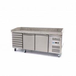 Chłodzony stół do pizzy Maxima - 2 drzwi - 7 szuflad - 202 cm MAXIMA 09400210 09400210