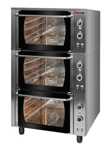 Piec elektryczny /3 komory/ z termoobiegiem  900x850x1580 mm KROMET 000.PE-3/T 000.PE-3/T