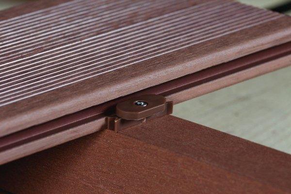 Klipsy i wkręty do montażu deski kompozytowej DUNA 21x146 - Brązowy (opakowanie 100 sztuk klipsów 105 sztuk wkrętów Klipsy startowe 5 szt)