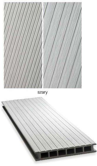 Deska tarasowa GAMRAT - kompozytowa ryflowana 25x160x2400mm jasny szary Wersja N
