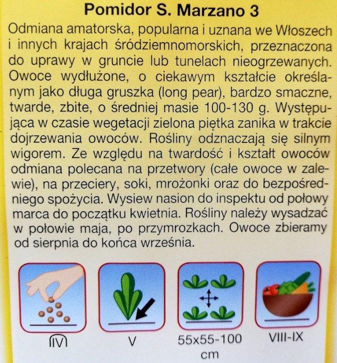 Pomidor gruntowy S. Marzano 3 nasiona Plantico