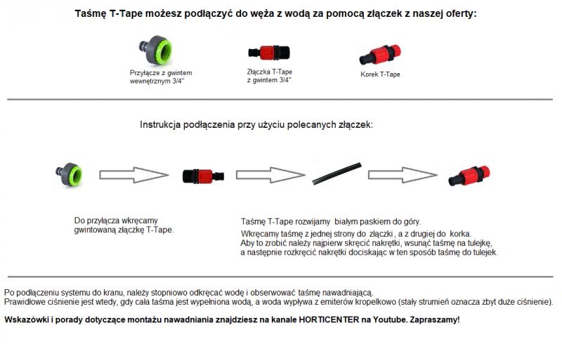 Taśma nawadniająca kropelkowa T-TAPE + złączki 50m