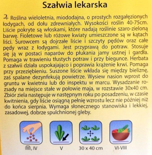 SZAŁWIA LEKARSKA nasiona ziół  1 g PLANTICO