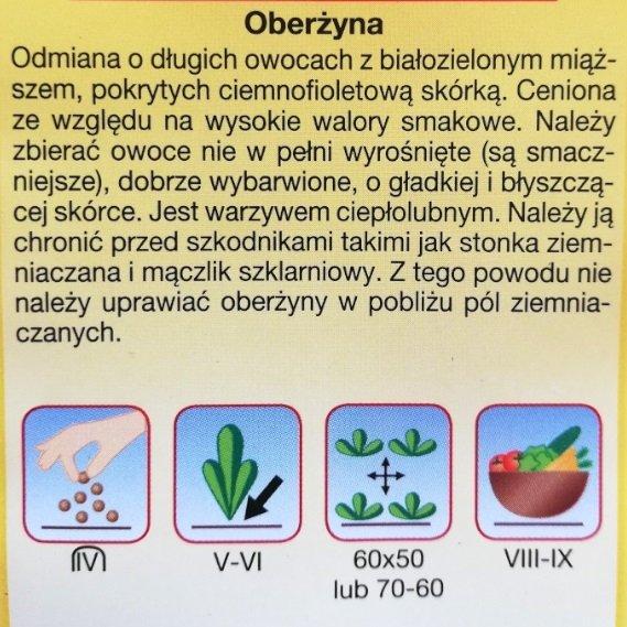 OBERŻYNA bakłażan VIOLETTA LUNGA nasiona 1 g