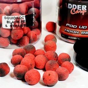 Adder Carp AVID kulki haczykowe POP-UP 14-16mm Squid & Octopus Black Pepper & Strawberry