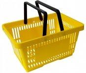 Koszyk na zakupy 22 L. Żółty 43 cm x 30 cm x 23 cm z 2 rączkami