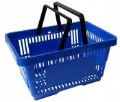 Koszyk na zakupy 22 L. Niebieski 43 cm x 30 cm x 23 cm z 2 rączkami