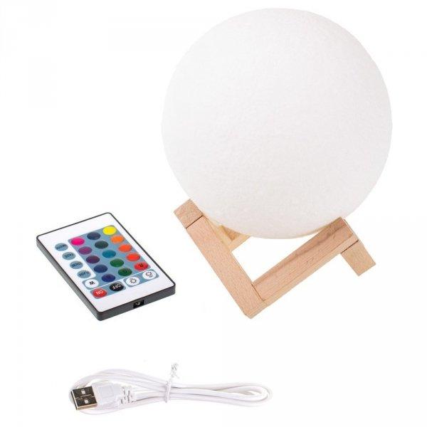 Lampka Luna 3D na drewnianym stojaku - 16 kolorów