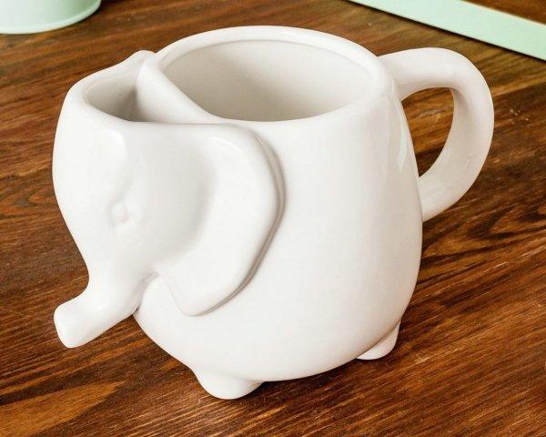 Ceramiczny kubek słonik biały 500 ml