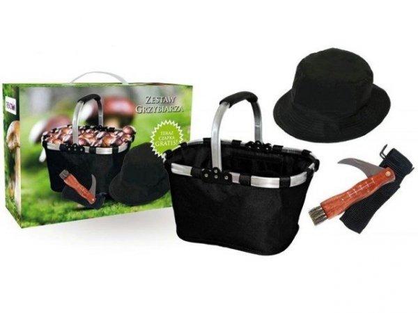 Zestaw grzybiarza - nóż, koszyk, kapelusz na grzyby