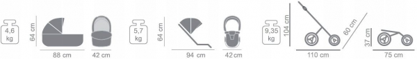 wózek LARET IMPERIAL (gondola+spacerówka+fotelik) TAKO