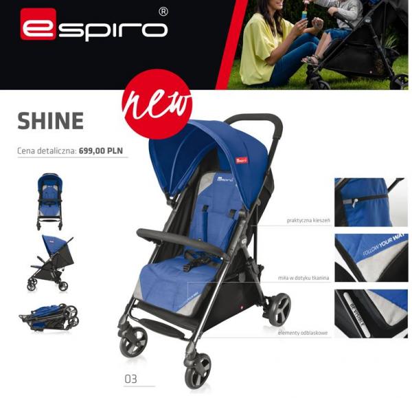 leciutki wózek spacerowy SHINE 2017 nowy model ESPIRO tylko 6,5 kg