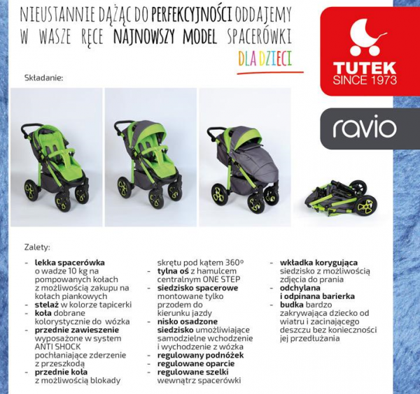 wózek spacerowy RAVIO koła pompowane  firmy TUTEK