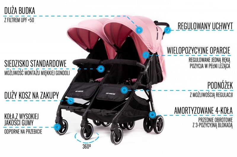 leciutki wózek BLIŻNIACZY  KUKI TWIN   ( do wagi 33 kg) + plecak przewozowy BABY MONSTERS tylko 9,8 kg 13 KOLORÓW