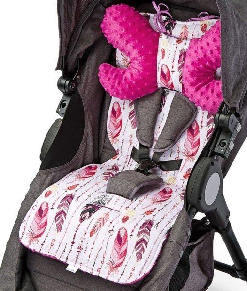 Wkładka do wózka ( wkładka i poduszka)– Basic SENSILLO  PIÓRKA PURPUROWE