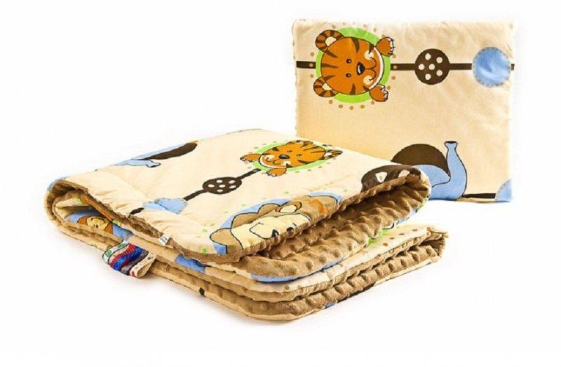 Komplet MINKY do wózka i łóżeczka SENSILLO - ZOO/CAPUCCINO  75x100/30x35