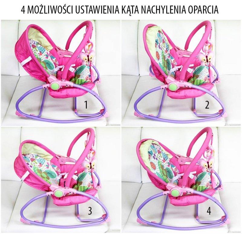Leżaczek- fotelik 0-18 kg  niemowlęcy z muzyką i wibracją RÓZOWY baby mix