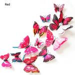 MOTYLKI MOTYLE 3D ŚCIANĘ PVC 12 MONTAŻ Różowe