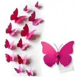 MOTYLKI MOTYLE 3D ŚCIANĘ PVC 12 Różowe Magnes