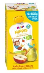 Hipp Hippis Bio 100% Owoców Jabłko Gruszka Banan 4x100