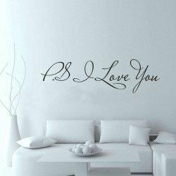 m-din Naklejki Na Ścianę Ścienne 3D Ps. Kocham Cię