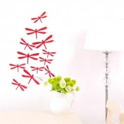 Waszki MOTYLE 3D ŚCIANĘ PVC 12 MONTAŻ Czerwone