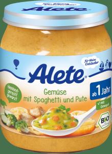 Alete Bio Spaghetti Makaron Warzywa Indyk 250g 12m