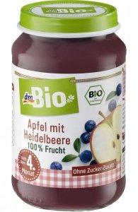Bio Pierwsze 100% owoce Borówki Jabłko 4m 190g