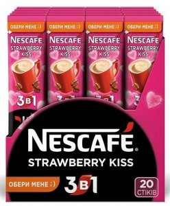 Nescafe Kawa Rozpuszczalna 3w1 Strawberry Kiss Smak Truskawkowy