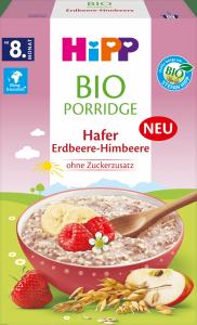 Hipp BIO Porridge Kaszka Owsianka Truskawki Maliny 250g 8m