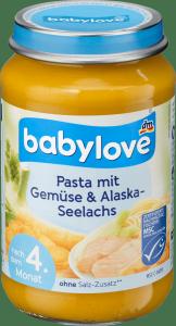 Babylove Makaron Warzywa Łosoś z Alaski 4m 190g