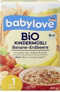 Babylove Bio Musli do mleka Banan Truskawka 200g 1roku