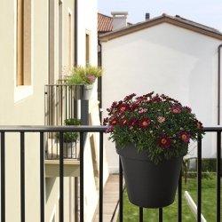 Doniczka balkonowa UP ze zbiornikiem na wodę grafitowa