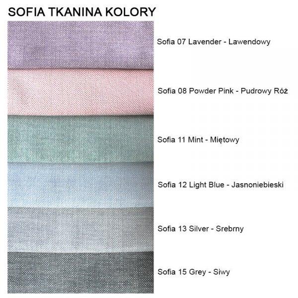 Komfortowe meble obite wytrzymałą tkaniną, dostępny w wielu opcjach kolorystycznych.