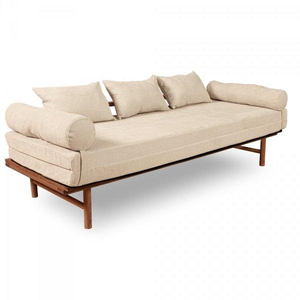 Le MAR Sofa rozkładana - drewno bukowe/karmel Woodman