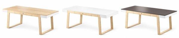 Stół Magh dostępny jest w trzech wersjach kolorystycznych: biały, grafitowy, nauralny dębowy