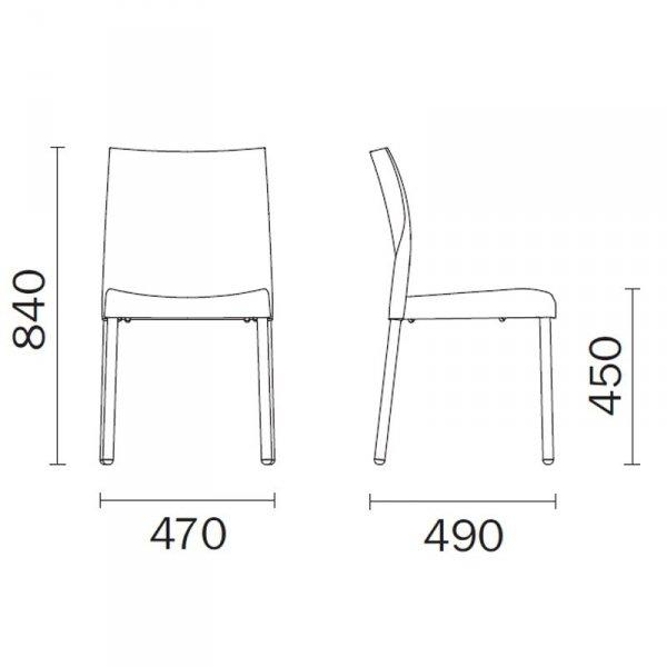 Krzesła Ice 800 Pedrali wymiary
