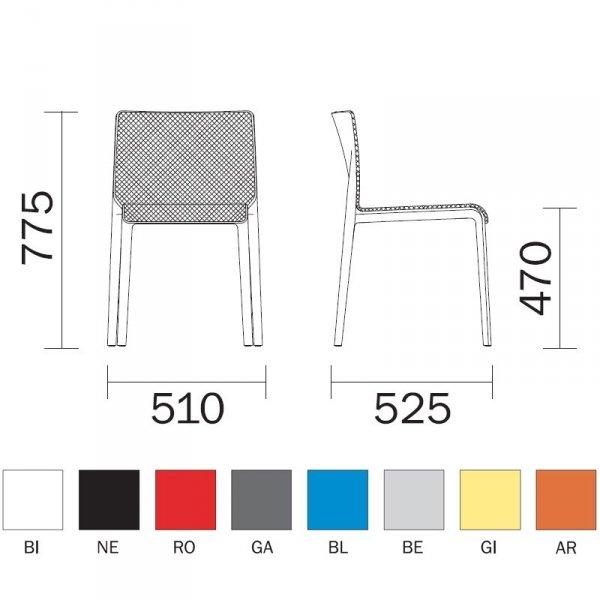 Volt 671 Pedrali wymiary i kolory ramy