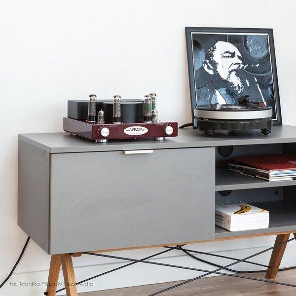 Szafka Sideboard TV posiada 2 półki oraz pojemną szafkę